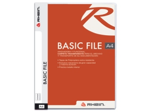 Carpeta Rhein Basic File A4 Transparente Lomo Blanco