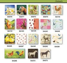 Servilleta Decoupage Animales 33x33 Set 20 Unidades